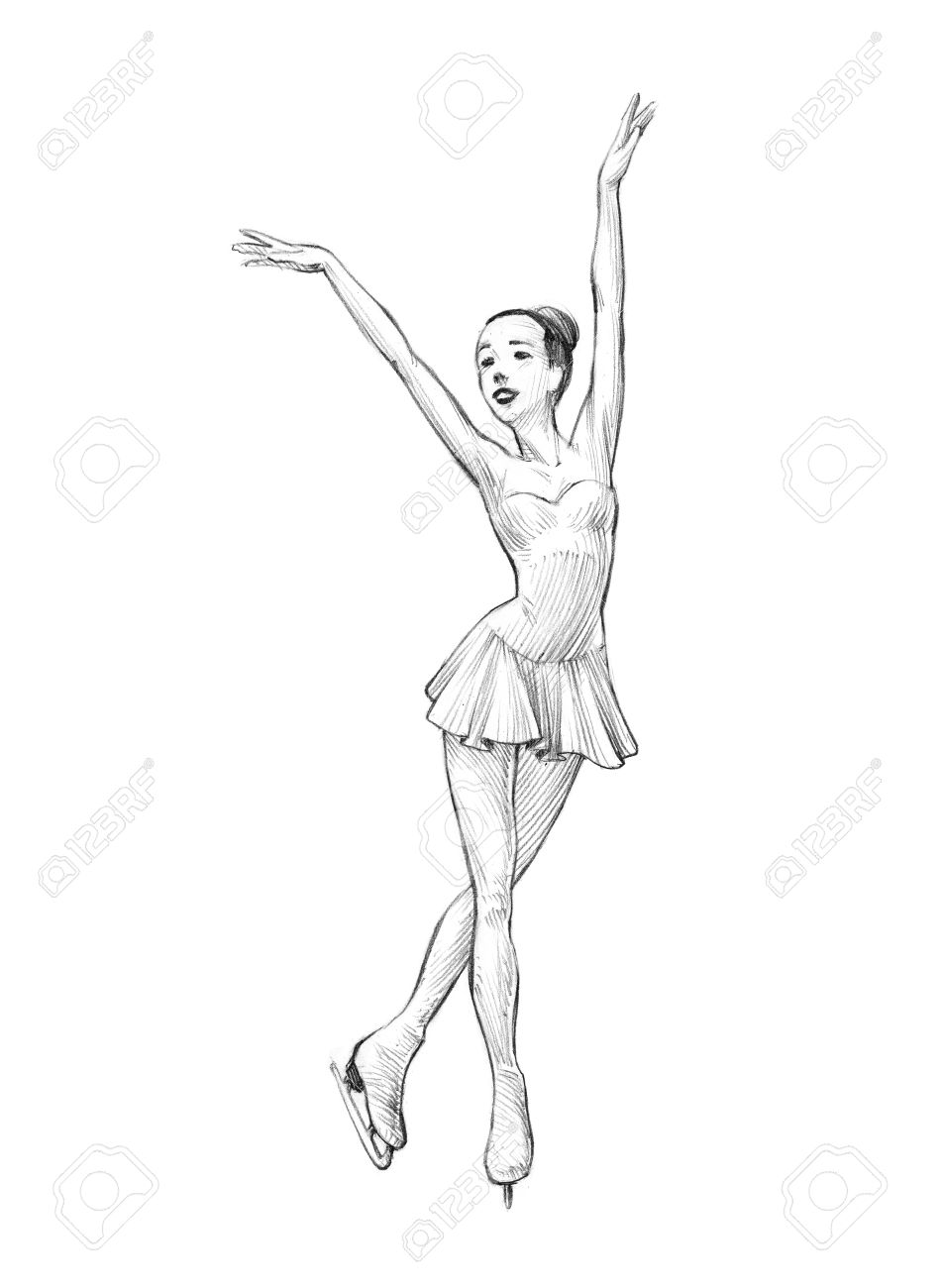 953x1300 Hand Drawn Sketch, Pencil Illustration Of A Figure Skater Woman
