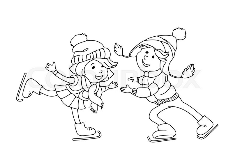 800x533 Boy And Girl Skating On Ice. Outline Cartoon Character