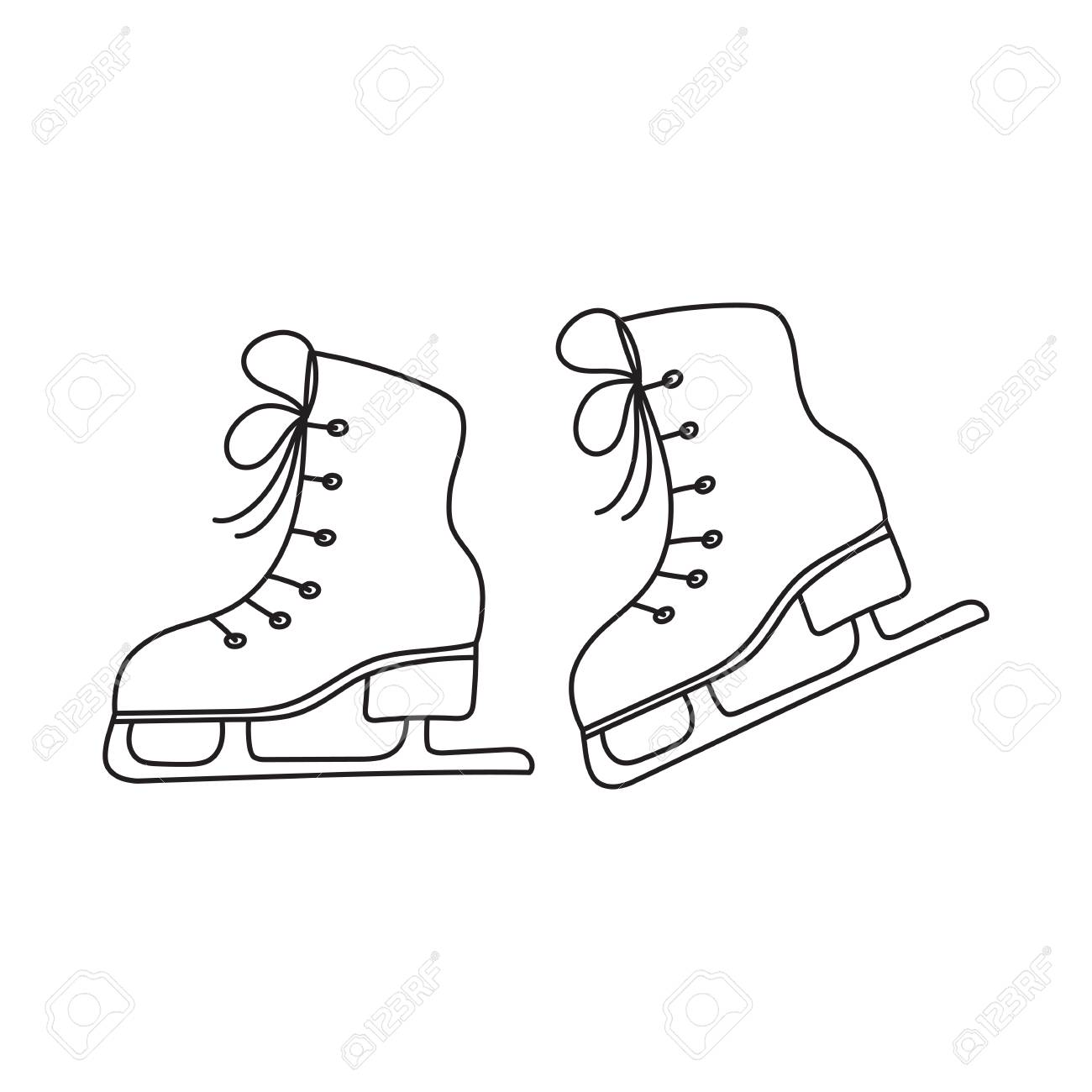 1300x1300 Ice Skates Vector Line Illustration Isolated On White Background