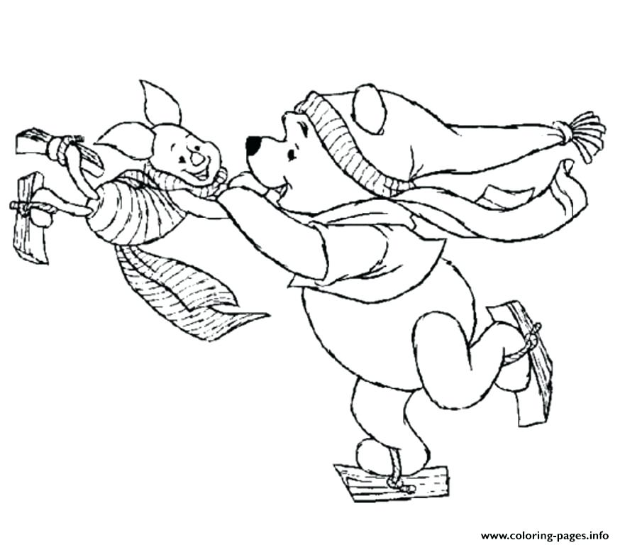 874x768 Ice Skating Coloring Pages Printable And Piglet Playing Ice