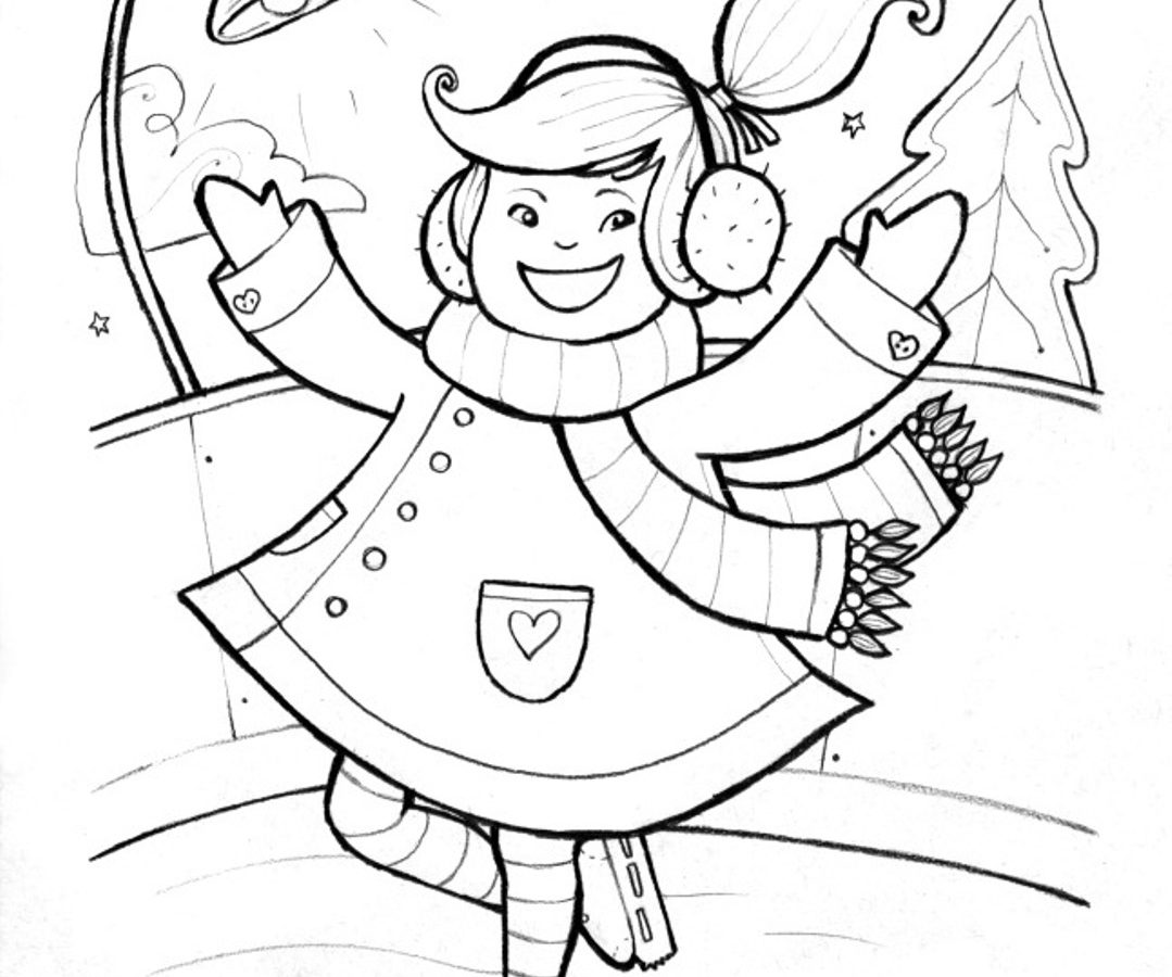 1079x900 Ice Skating Coloring Pages To Download And Print For Toddler Free