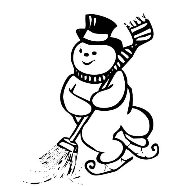 600x600 Ice Skating Snowman While Cleaning The Street Coloring Page