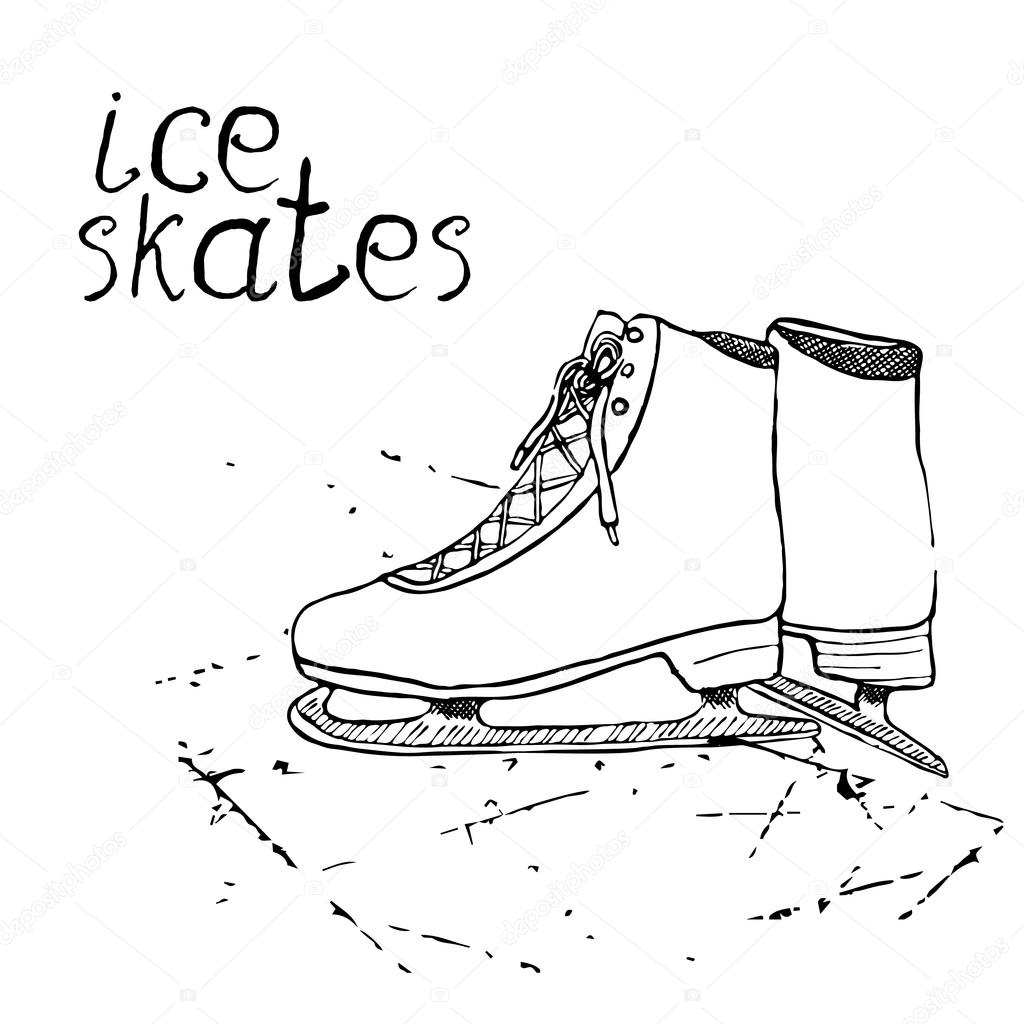 1024x1024 Hand Drawn Sketch Ice Skates. Drawing Sport Doodle Element Winter