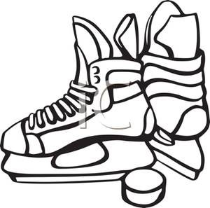 300x297 Pair Of Ice Hockey Skates And A Puck
