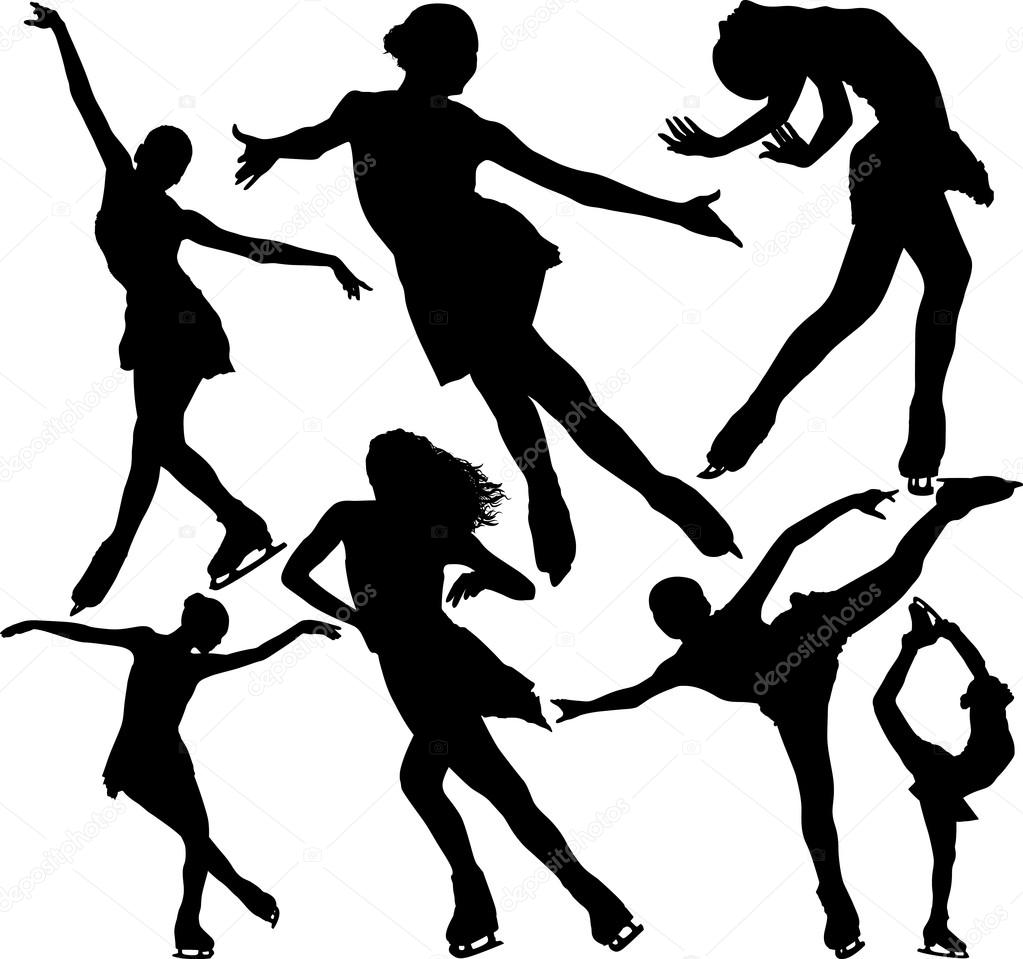 1023x959 Figure Ice Skating Vector Silhouettes. Layered. Fully Editable