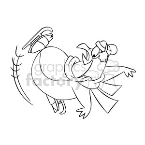 300x300 Royalty Free Sal The Cartoon Penguin Character Falling While Ice