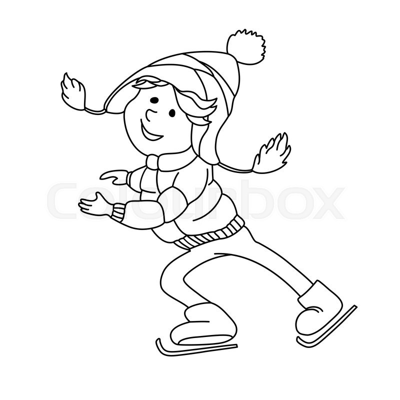 800x800 Boy Skating On Ice. Outline Cartoon Character For Coloring Book
