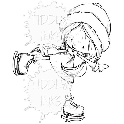 475x475 Skater Wryn Ice Skating Digital Christmas Stamp
