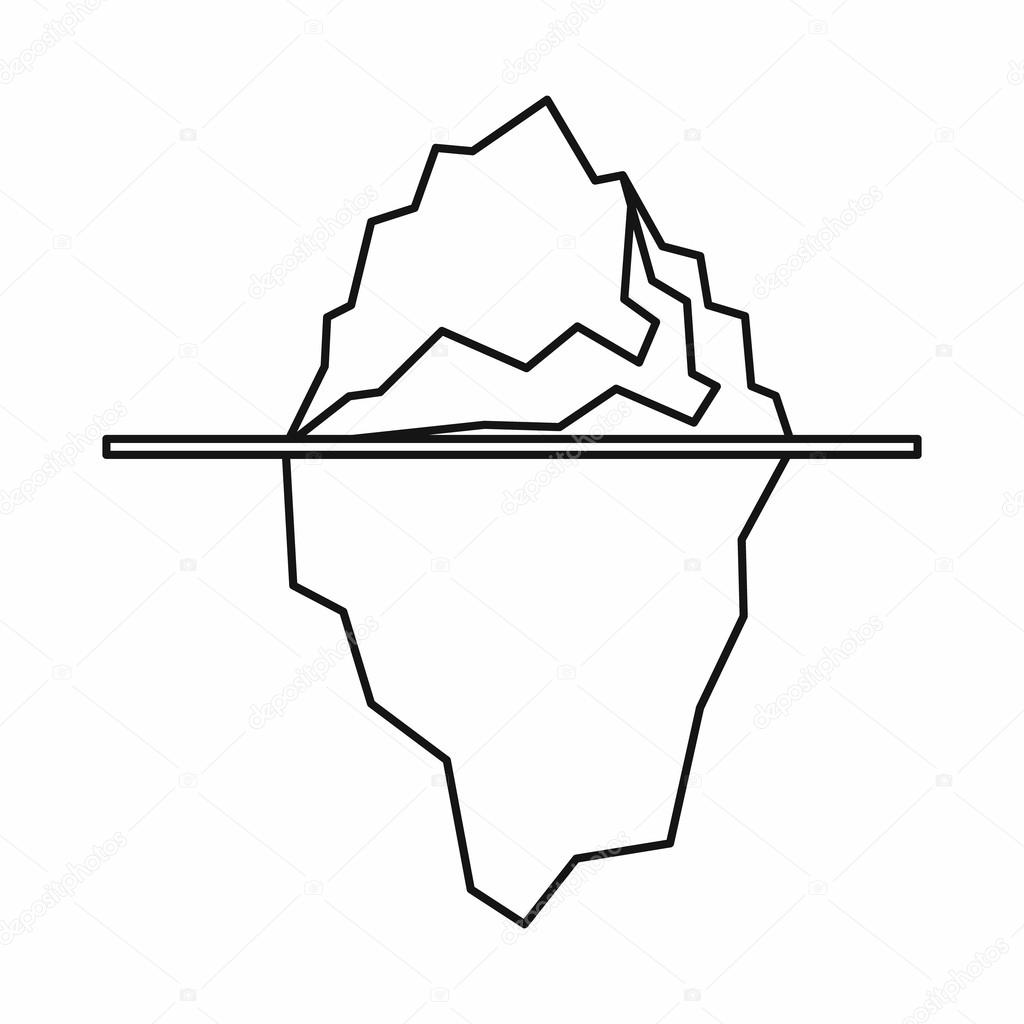 1024x1024 Iceberg Icon, Outline Style Stock Vector Ylivdesign