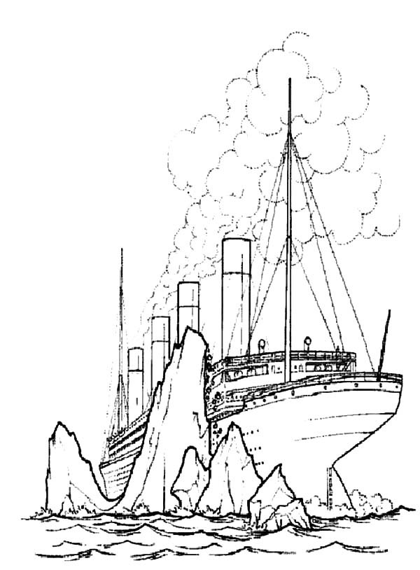 600x814 Titanic Crashing Giant Iceberg Coloring Pages Batch Coloring