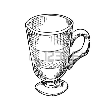 450x450 Engraving Illustration Of Glass Of Latte Coffee Isolated On White