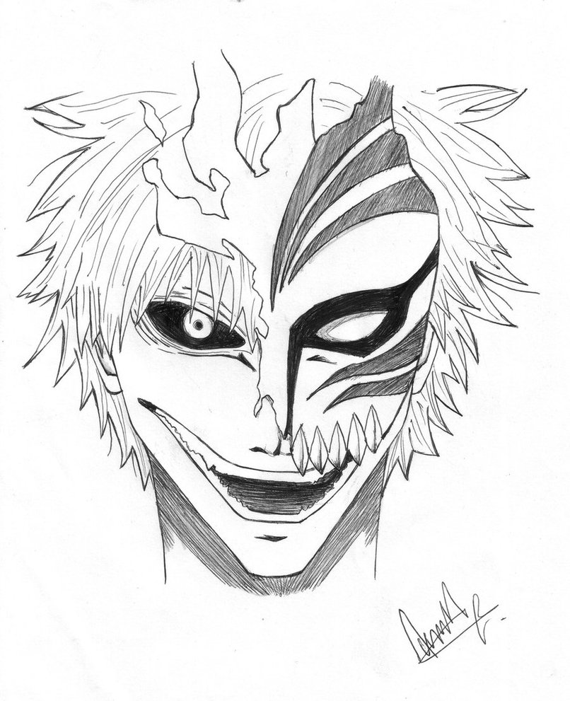 806x991 Ichigo With His Hollow Mask By Madcheesecake