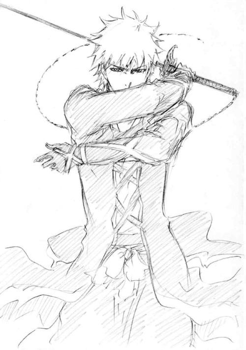500x709 Bleach Kurosaki Ichigo Sketch Para Dibujar