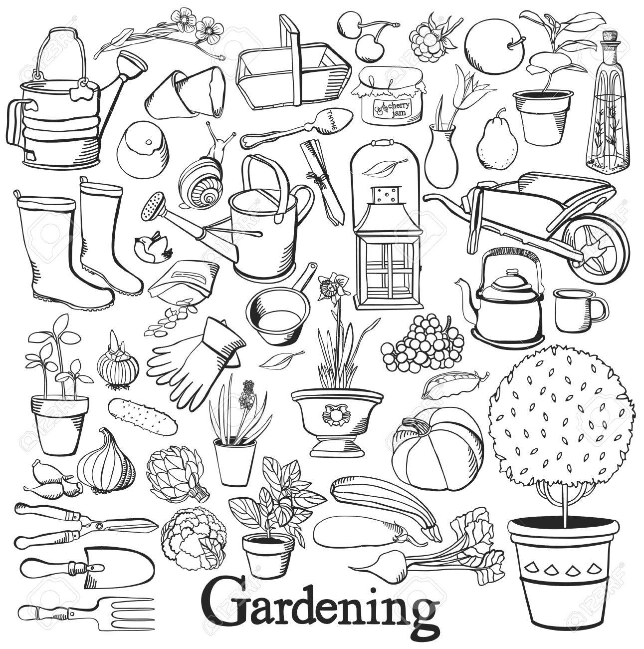 1291x1300 Gardening Line Icon Drawing Doodle Set Hobby Healthy Lifestyle