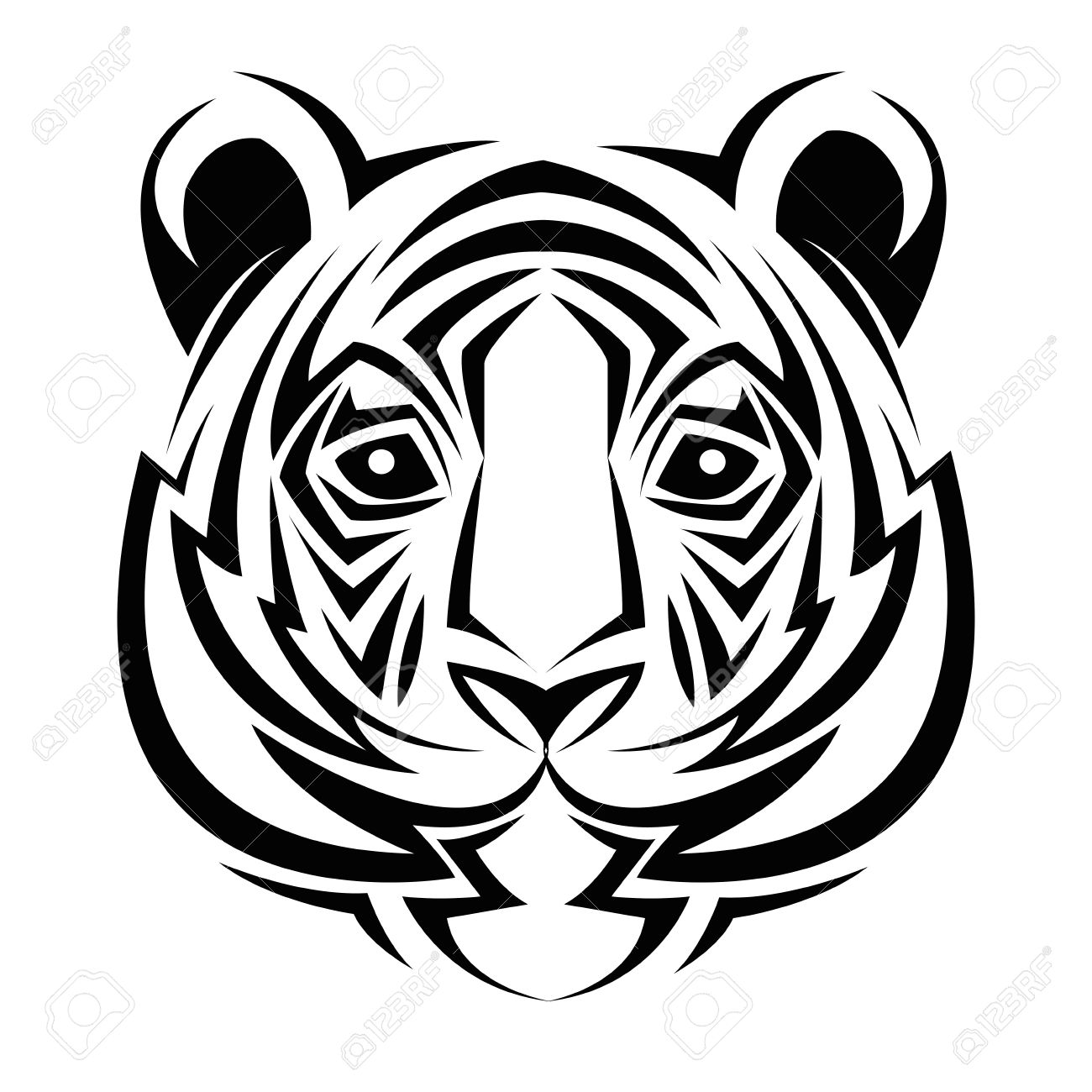1300x1300 Tiger Tattoo Animal Draw Abstract Icon. Flat And Isolated Design