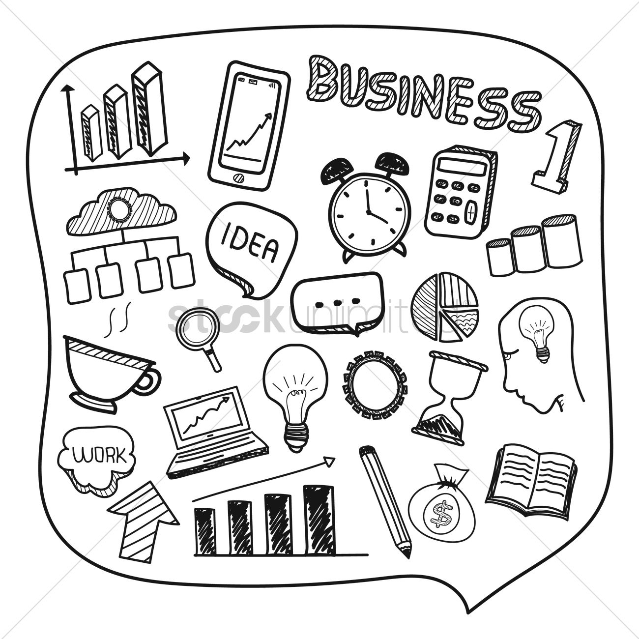 1300x1300 Free Collection Of Hand Drawn Business Icons Vector Image