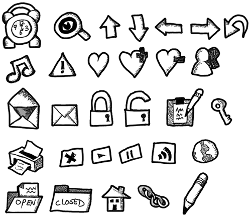 500x436 Free Hand Drawn Icon Set