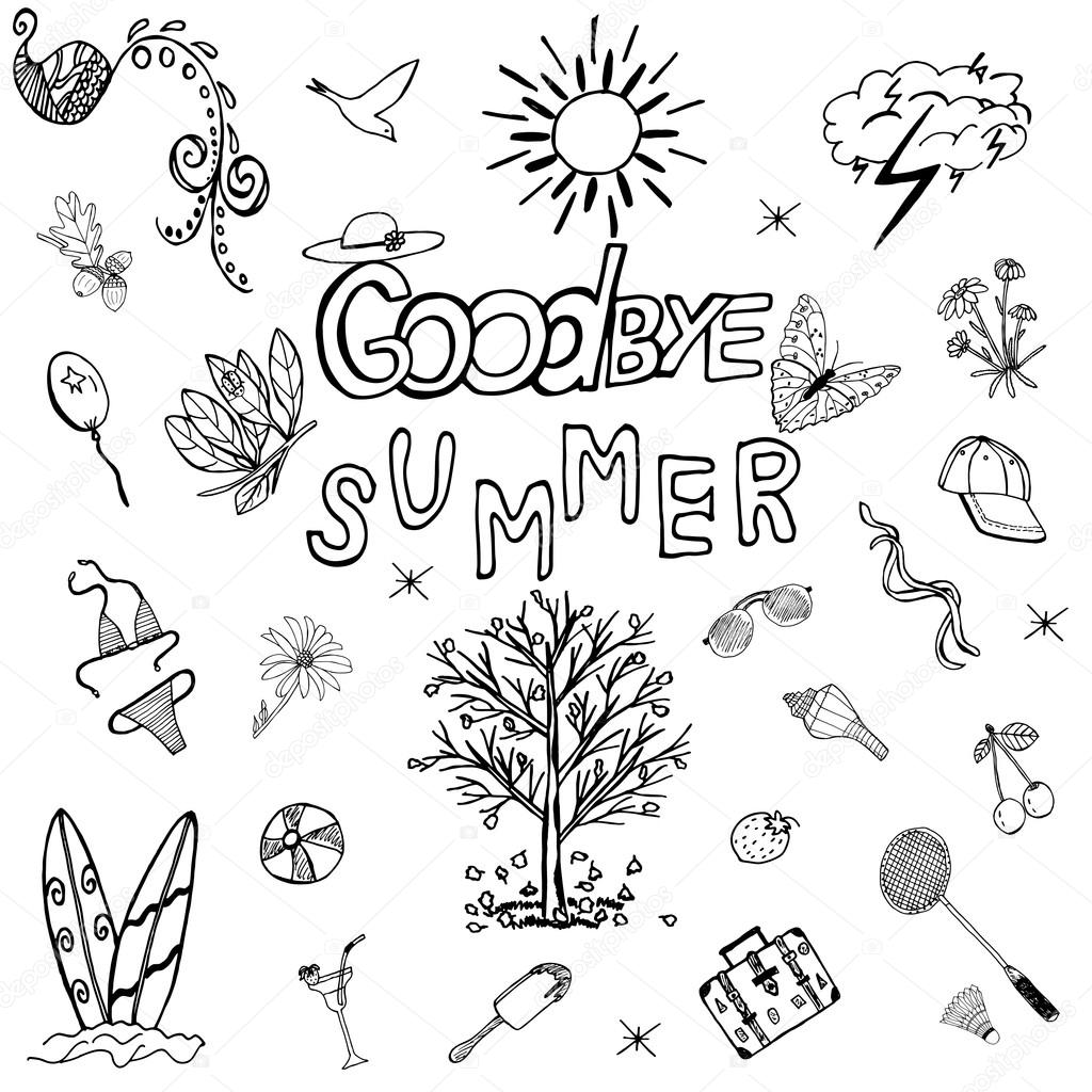 1024x1024 Goodbye Summer Hand Drawn Set With Handwritten Letters