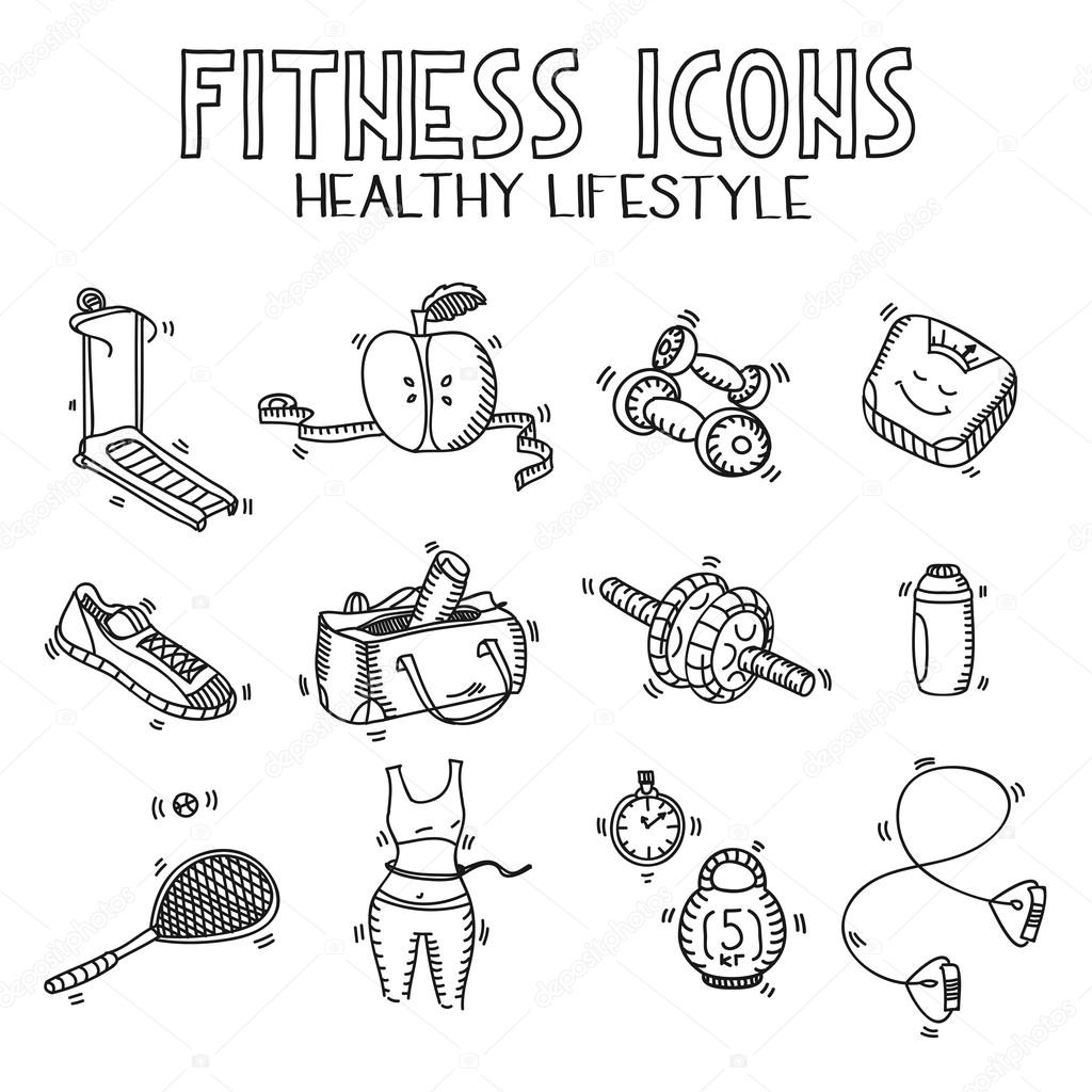 1024x1024 Hand Drawn Doodle Sketch Icons Set Fitness And Sport Concept