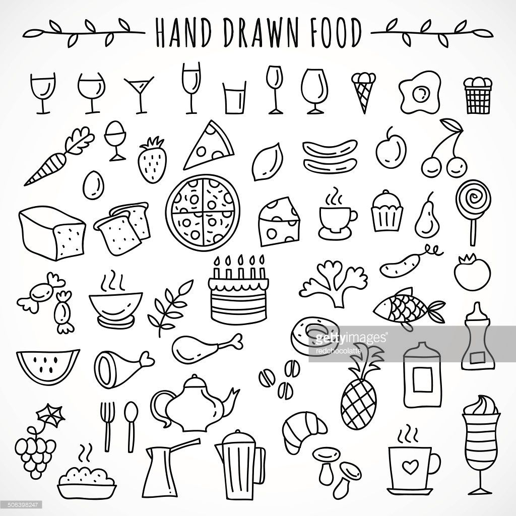 1024x1024 Hand Drawn Set Of Food Icons Food Icons, Hand Drawn And Icons