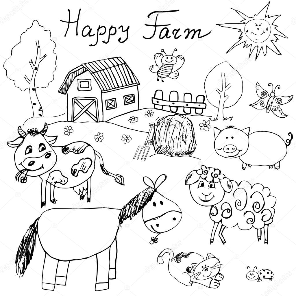 1024x1024 Happy Farm Doodles Icons Set. Hand Drawn Sketch With Horse, Cow