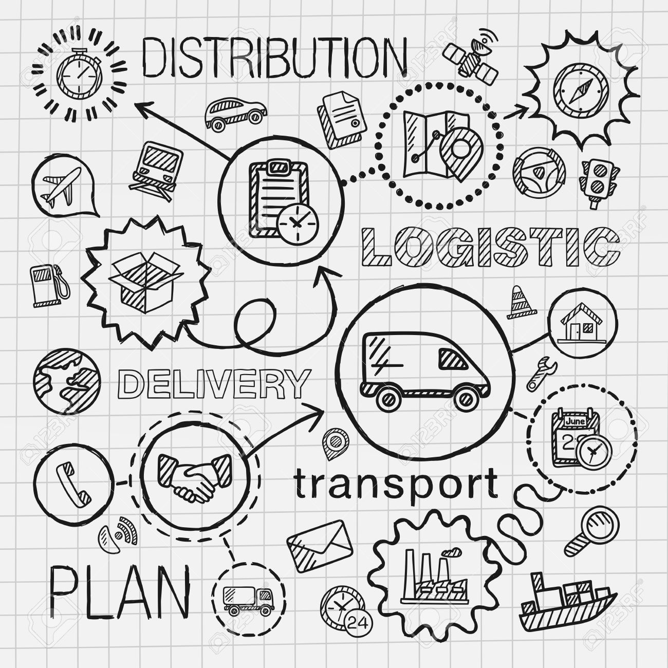 1300x1300 Logistic Hand Draw Integrated Icons Set. Vector Sketch Infographic