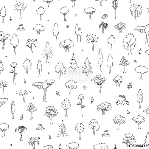 500x500 Seamless Background Hand Drawn Doodle Tree And Forest Set Vector