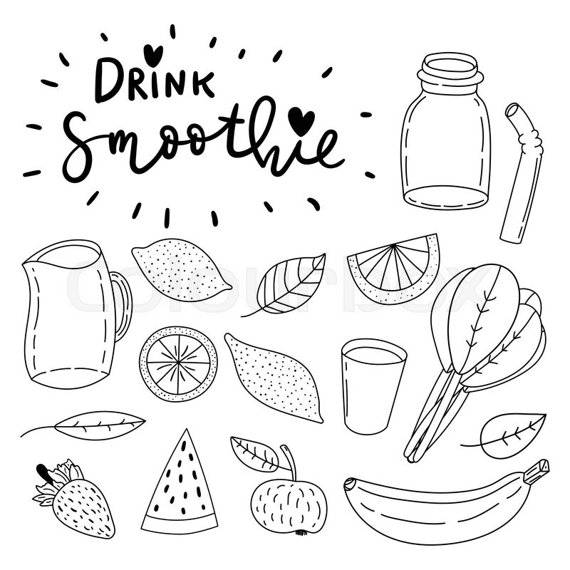 800x800 Set Of Hand Drawn Simple Line Vector Doodle Icons. Drink Smoothie