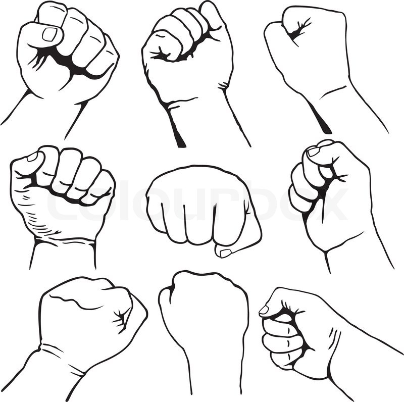 800x796 Set Of Nine Fist Icons Black Line Art On White Background Stock