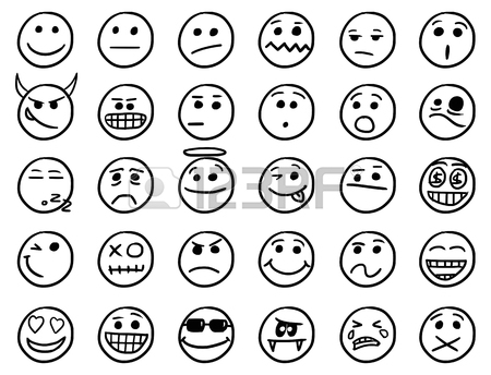 450x344 Set01 Of Smiley Icons Drawings Doodles In Black And White Royalty