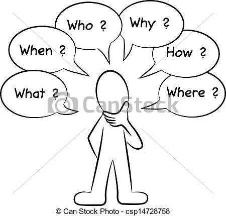 450x430 Vector Illustration Of A Man Who Asks Questions Clipart Vector