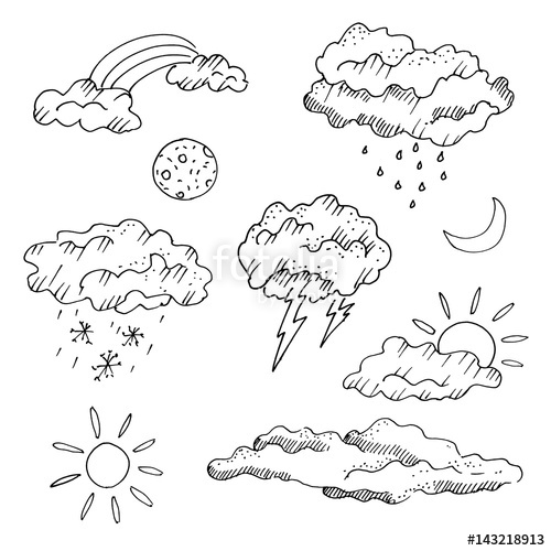 500x500 Weather Forecast Icons, Freehand Drawing. Sketch, Vector