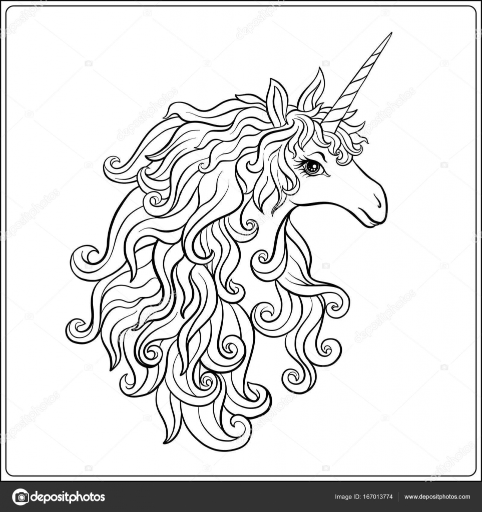 963x1024 Unicorn. Outline Drawing Coloring Page. Coloring Book For Adult