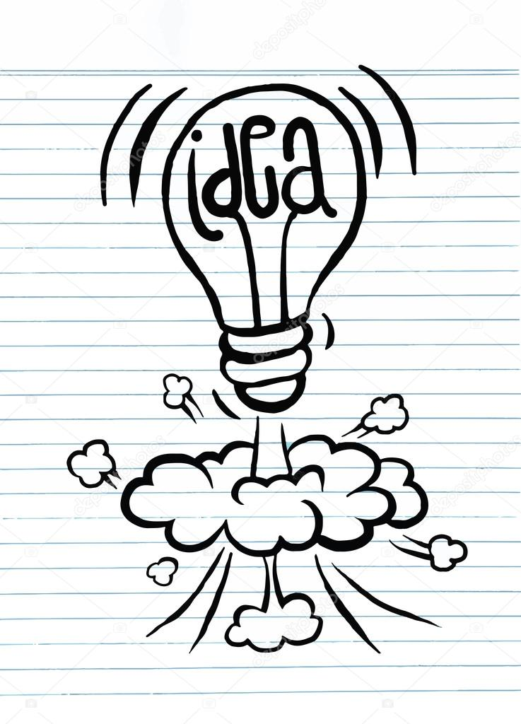 737x1024 Hand Drawing Light Bulb Idea Vector Illustration Stock Vector