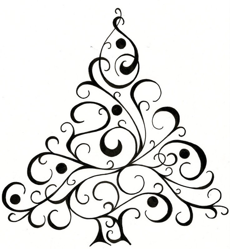 736x796 Christmas Tree Drawing Black And White Find Craft Ideas