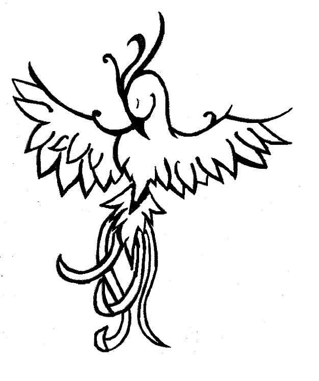 626x747 Phoenix Tattoo Black And White By Tattoohappy