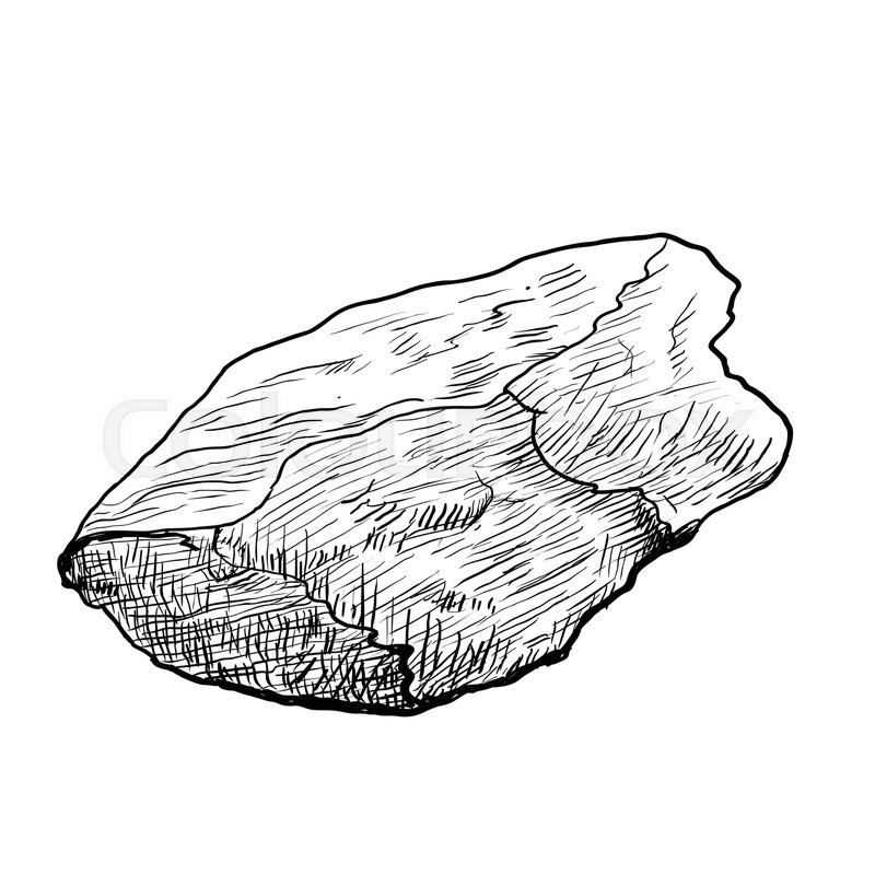 800x800 Hand Drawing Of Rock, Stone Isolated On White Background. Black