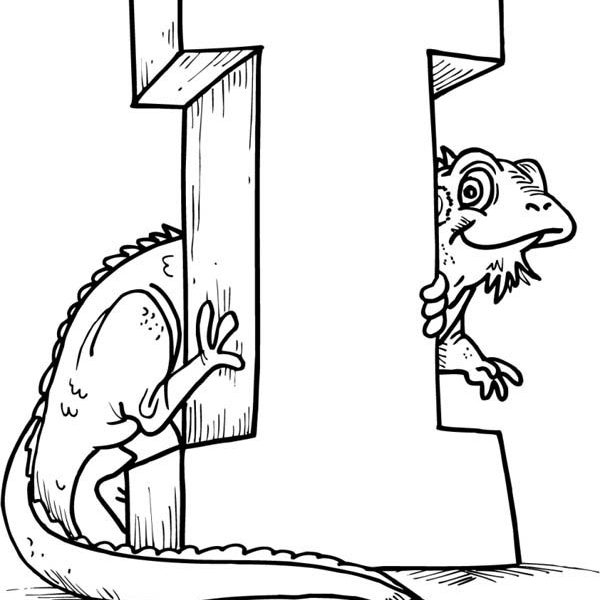 600x600 I Coloring Pages Green Iguana With Letter I Coloring Page For Kids