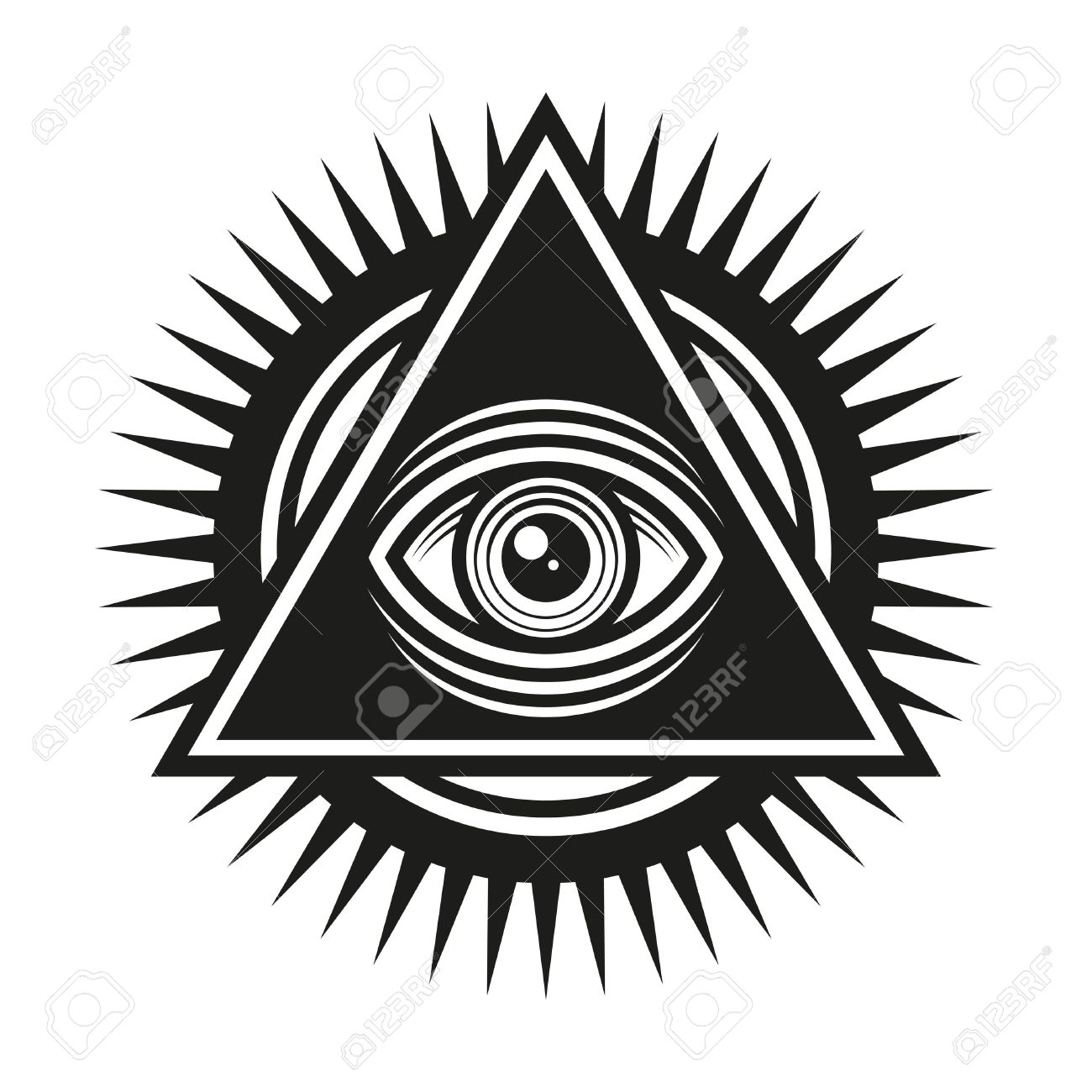 1300x1300 Masonic Symbol. All Seeing Eye Inside Pyramid Triangle Icon