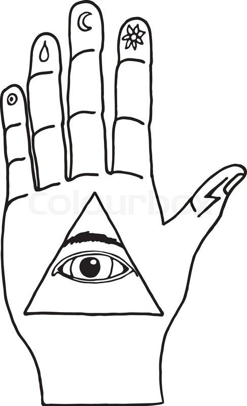 487x800 Sunburst, Hand, Ornaments And All Seeing Eye Symbol. Illuminati