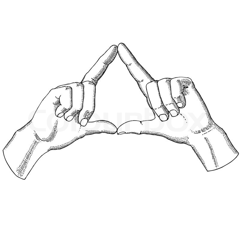 800x800 Hands Show A Triangle Stock Vector Colourbox