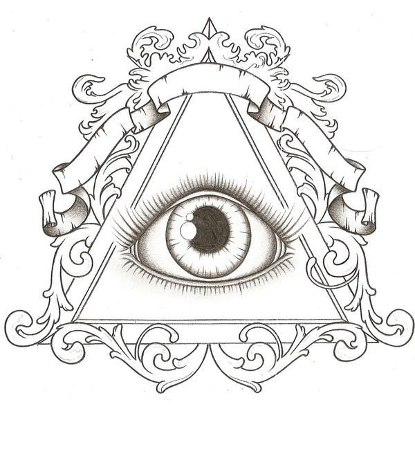 600x659 Triangle Eye Tattoo Designs