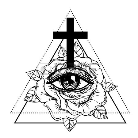 450x450 Rosicrucianism Symbol. Blackwork Tattoo Flash. All Seeing Eye