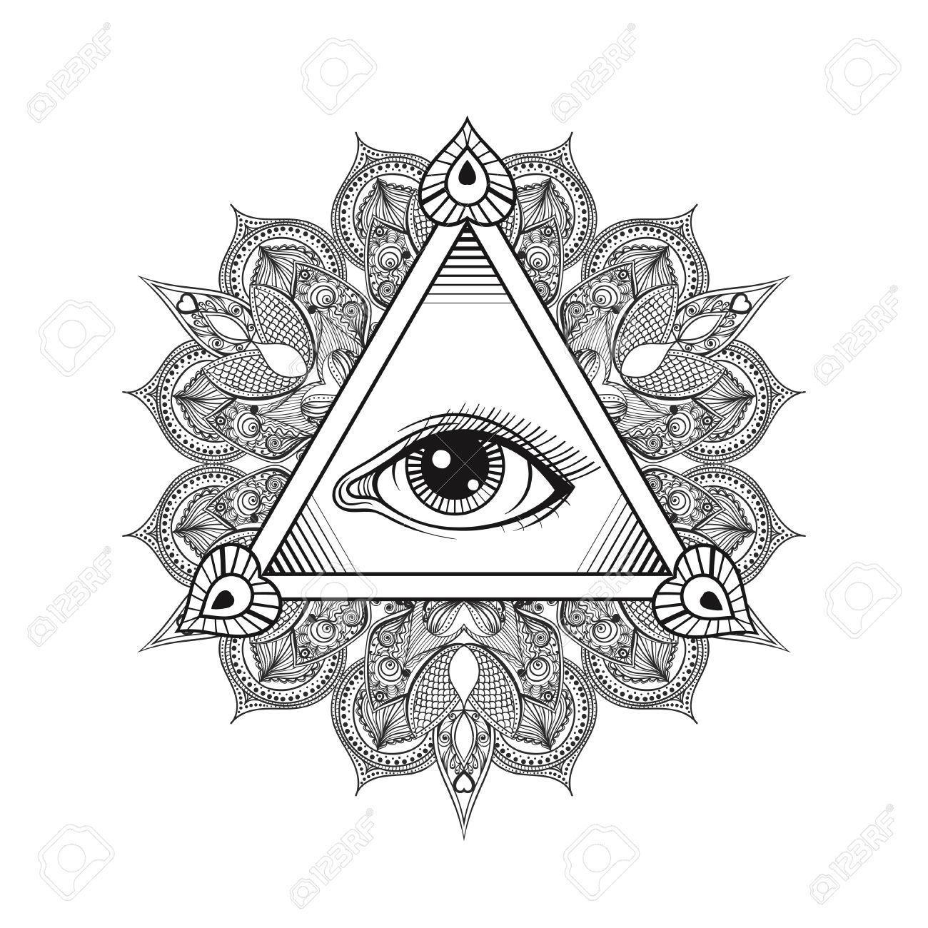 1300x1300 Vector All Seeing Eye Pyramid Symbol. Tattoo Design. Vintage