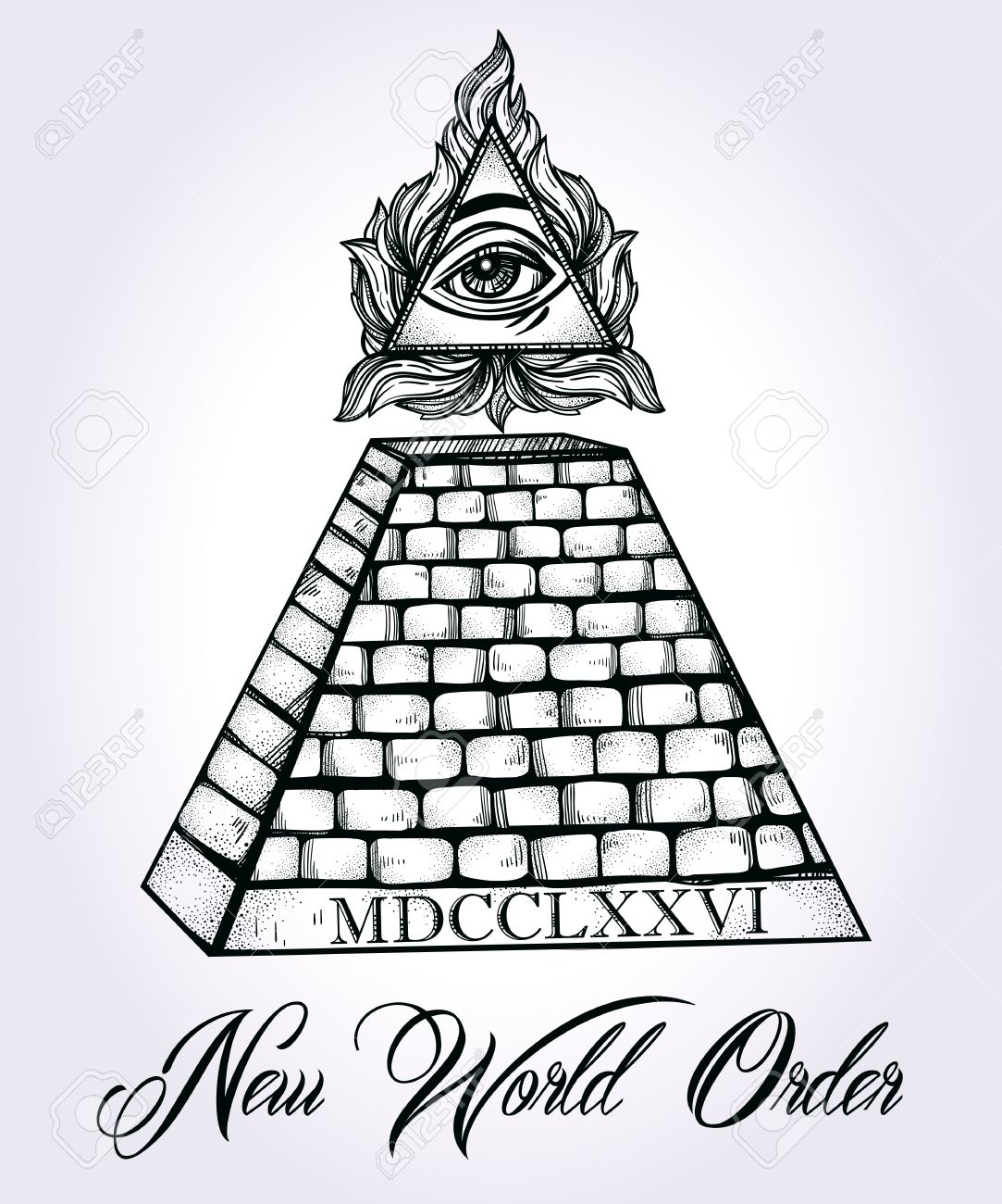 1083x1300 All Seeing Eye Pyramid Symbol. New World Order. Hand Drawn Eye