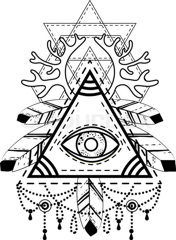585x800 All Seeing Eye Pyramid Symbol. Old School Tattoo. Mystic Sign
