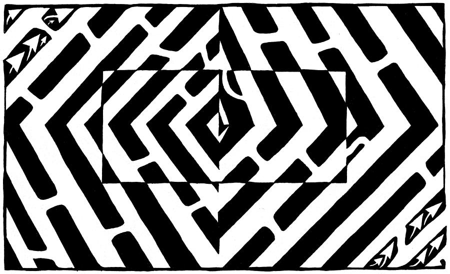900x547 Optical Illusion Maze Of Floating Box Drawing By Yonatan Frimer