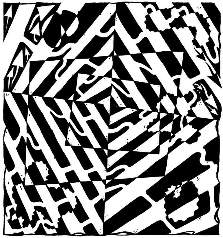 770x821 Saatchi Art Chaos Maze Optical Illusion Drawing By Yonatan Frimer