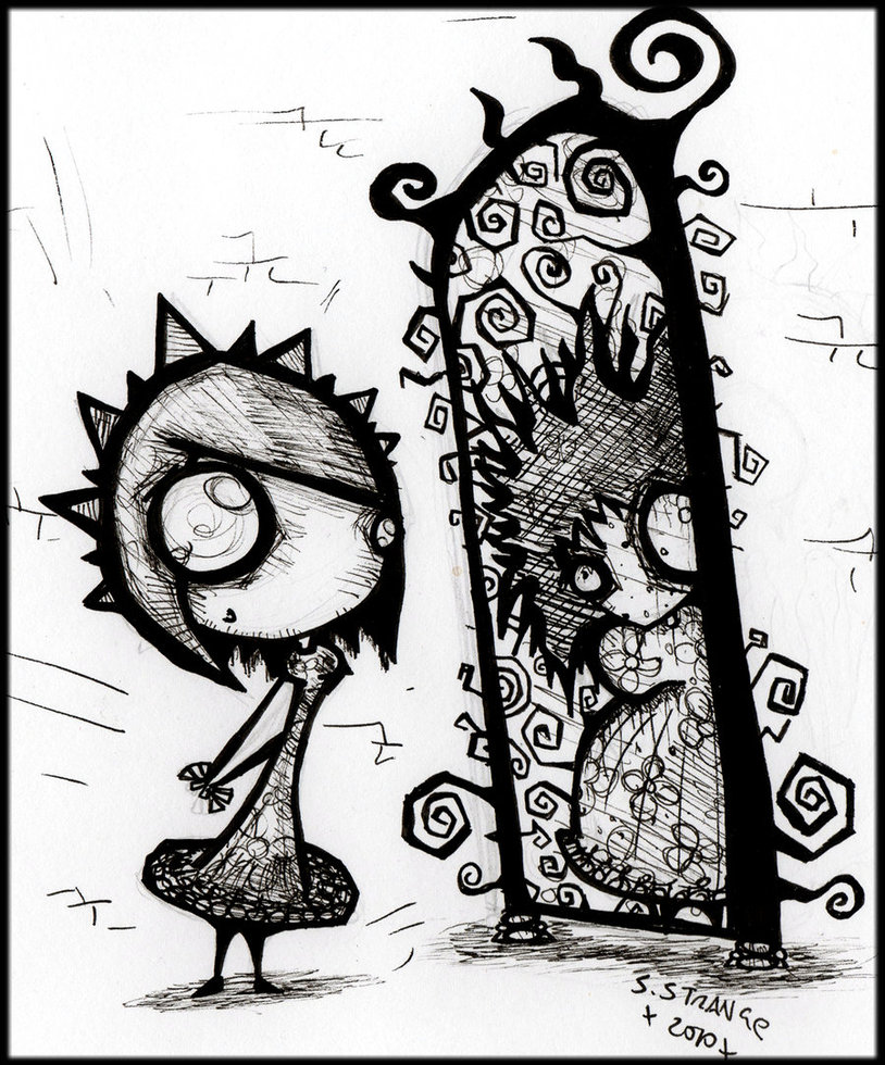 814x980 Anorexia Mirror Illusion Drawing