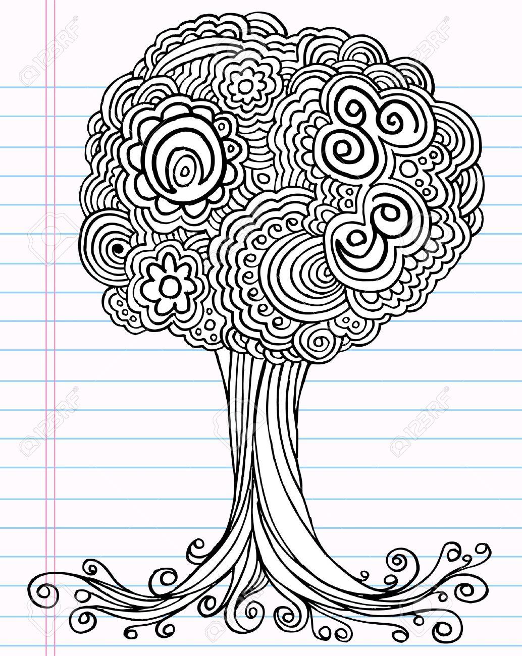 1034x1300 Notebook Doodle Sketch Henna Tree Drawing Illustration Art Royalty